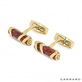 Garrard 18k Yellow Gold Enamel Log Cufflinks